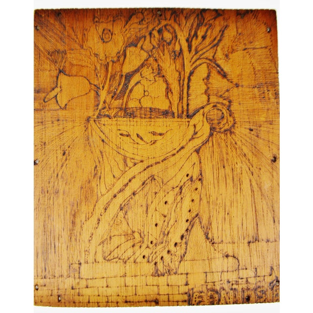 Mid 20th Century Vintage Pyrography Floral Wall Art For Sale - Image 5 of 11
