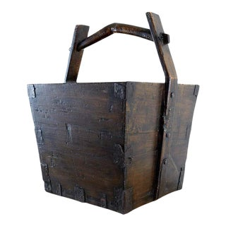 Chinese Elm Grain Bucket With Handle For Sale