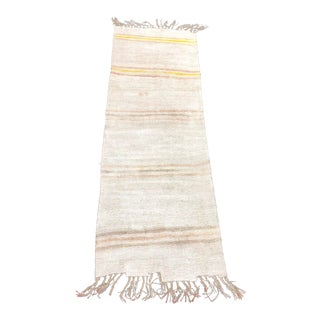 White with Pink and Yellow Stripes Turkish Natural Antique White Hemp Kilim Rug 2′10″ × 8′6″ For Sale