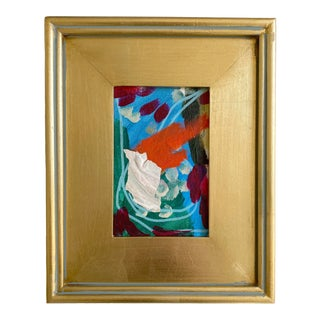 Red and Blue Mini Painting With Gold Frame For Sale