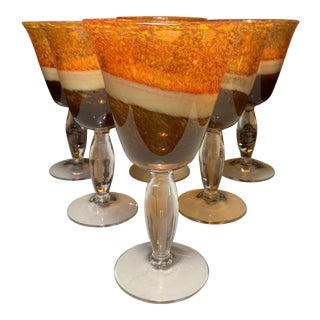Vintage Blown Glass Speckled Orange Cream Amber Goblet - Set of 6 For Sale