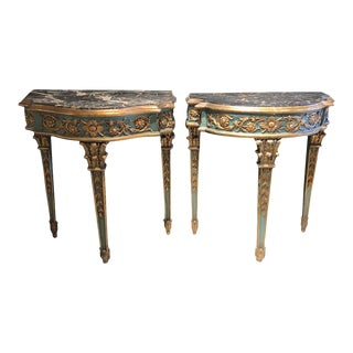 Pair of 19th Century French Console/Sofa Tables Parcel-Gilt & Painted Marble Top For Sale