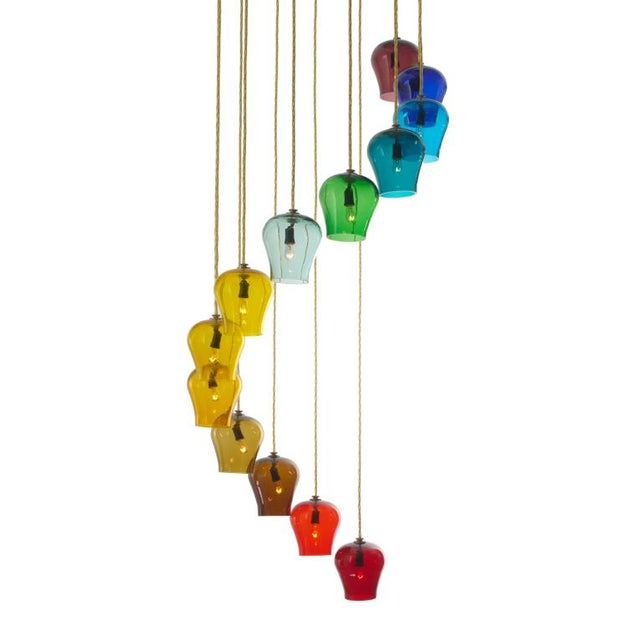 Morris Lapidus Rainbow Spiral Glass Chandeliers - a Pair For Sale - Image 5 of 7