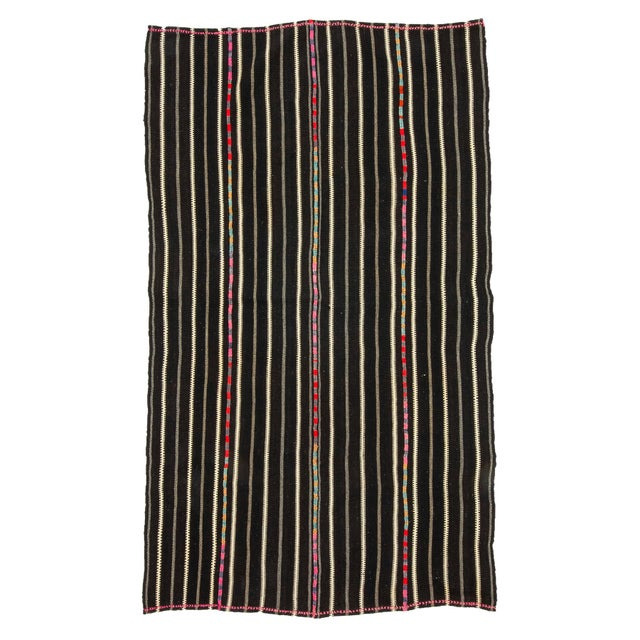 Textile 1960s Vintage Striped Black Kilim Rug- 4′9″ × 8′2″ For Sale - Image 7 of 7