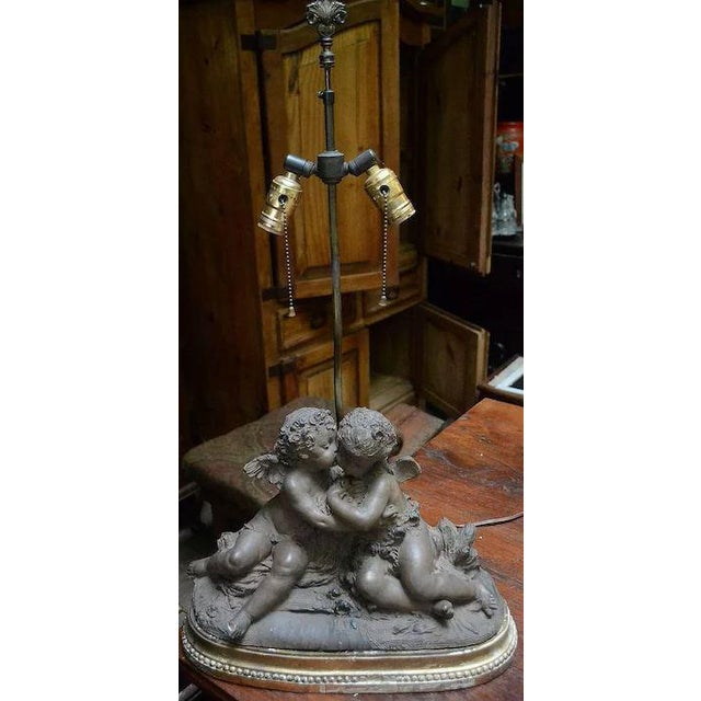 French 19th Century Signed Terracotta Kissing Putti/Cherub Statue Lamp For Sale - Image 10 of 10