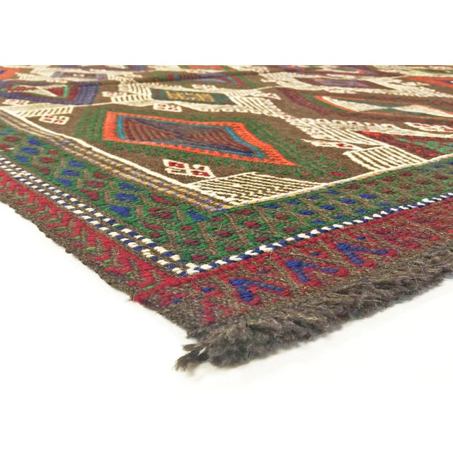1950s vintage handwoven Turkish cicim (jijim), or flat-weave with brocade elements, composed of narrow strips sewn...