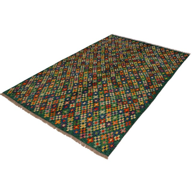 "Boho Chic Balouchi Ali Green/Ivory Wool Rug - 4'11"" X 6'4"" For Sale - Image 3 of 8"