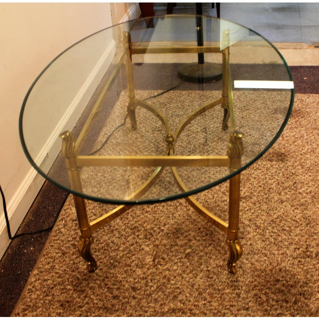 Regency Brass Base & Glass Top Coffee Table - Image 5 of 10