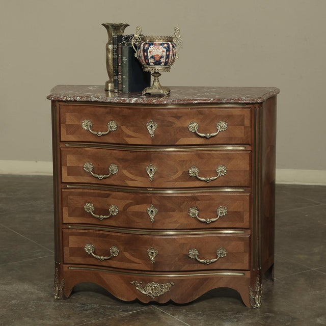 French 19th Century French Louis XIV Marble Top Commode With Marquetry For Sale - Image 3 of 11