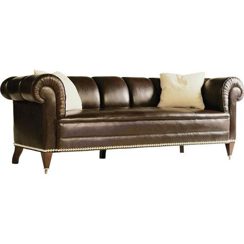Contemporized Chesterfield with a pulled channel and a bench seat rather than tufting. Welt trim standard, oversized...