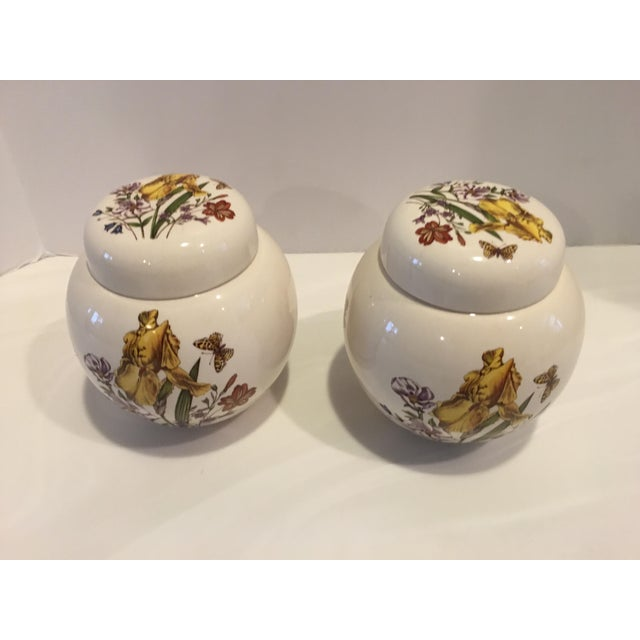 Charming pair of ironstone ginger jars from Masons China. Botanical motif with butterflies. Made in England, circa 1950's....