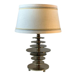 French Modernist Art Deco Nickeled Bronze Disc Lamp For Sale