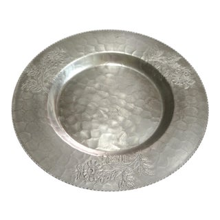 1950s Hand Wrought Aluminum Platter With Floral Detail For Sale