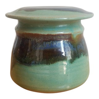 Mid-Century Modern Green Ceramic Hand Thrown Butter Bell Jar For Sale