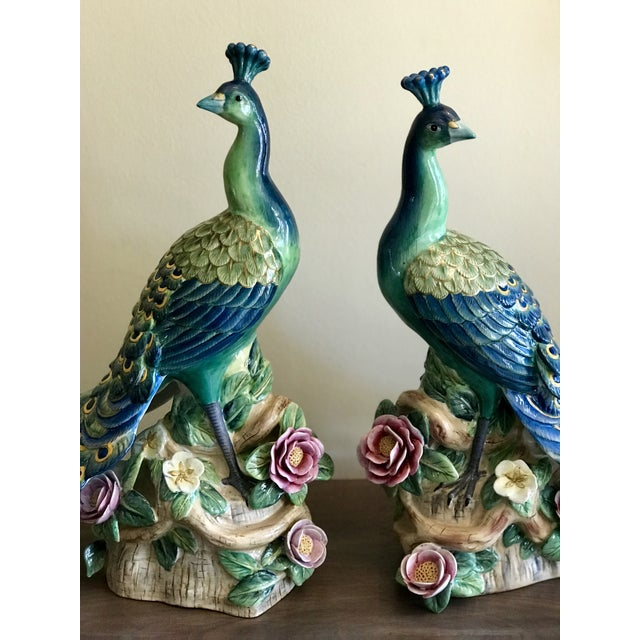 Vintage Hand Painted Porcelain Peacock Figurines - a Pair For Sale - Image 11 of 12
