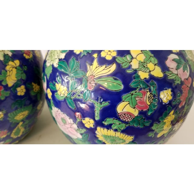 Royal Blue Contemporary Asian Ginger Jars - a Pair For Sale - Image 8 of 11