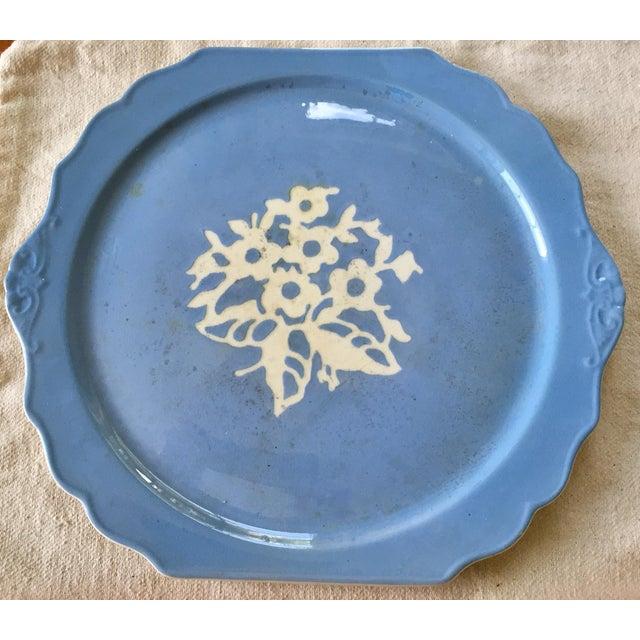 Cottage Springtime Vintage Harker Blue Cameo Ware Cake Plate For Sale - Image 3 of 5