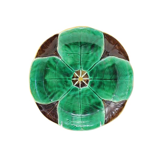 Antique Majolica Lily Pad Plate For Sale