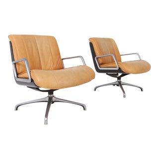 Saporiti Nude Leather Revolving Armchairs For Sale
