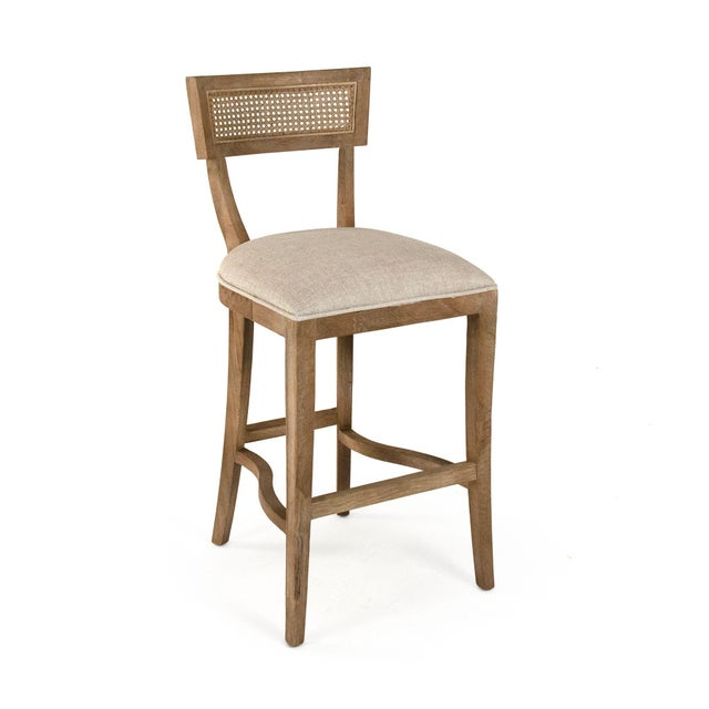 French Country Selborne Cane Back Bar Stool in Cream For Sale - Image 3 of 5