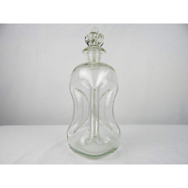 Mid 20th Century Vintage Pinch Crystal Decanter For Sale - Image 5 of 8