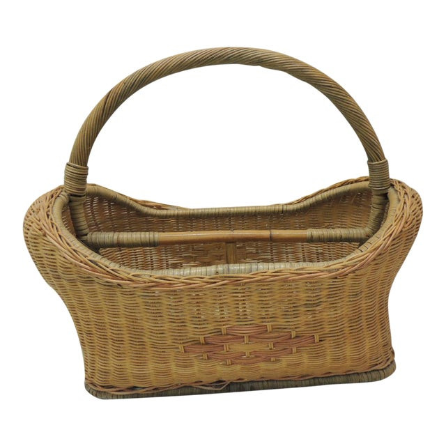 Vintage Wicker Magazine Rack With Handles For Sale