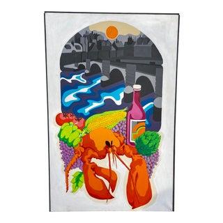 1970's Psychedelic Lobster Painting by Allen Zeleski, Framed For Sale