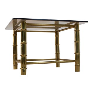 Faux Bamboo Brass Side- or Coffee Table, France 1960s For Sale
