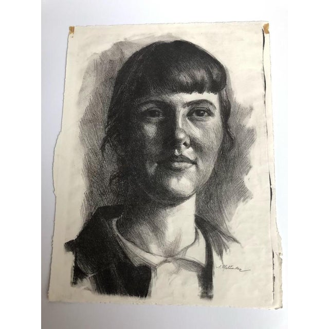 Compressed charcoal portrait on paper signed by L. Melindin. This piece was deaccessioned from the Art Academy of...