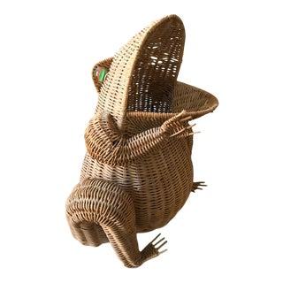 Mid Century Wicker Frog - Basket