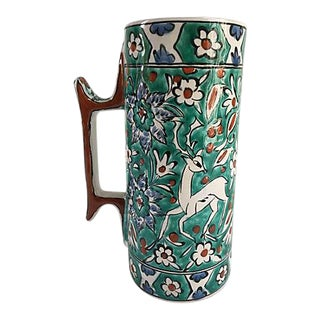 Mid-Century Hand Painted Turquoise Terracotta Vase For Sale