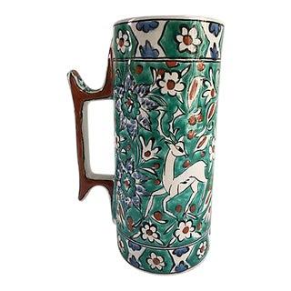 Mid-Century Hand Painted Turquoise Terracotta Vase