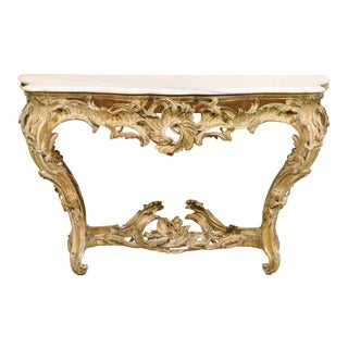 French Gilded Wood Rocaille Console Table For Sale