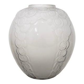 Art Deco Molded Glass Vase by Andre Hunebelle for R. Cogneville, France C.1930s For Sale