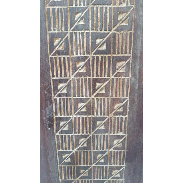 Vintage Metal & Carved Wood Panels Room Divider Screen For Sale - Image 5 of 9