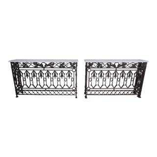 Pair of French Wrought Iron Consoles w/ Carrara Marble Tops