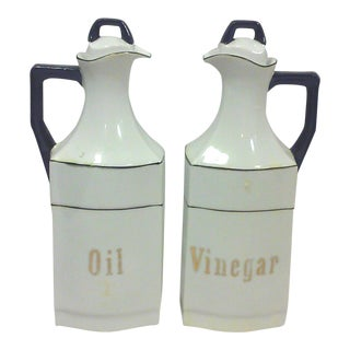 German Black and White Porcelain Oil and Vinegar Cruets - A Pair
