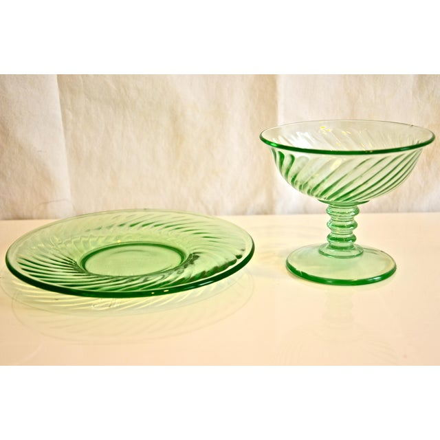 Mid 20th Century 1940s Green Glass Coupe & Saucers - Set of 4 For Sale - Image 5 of 5