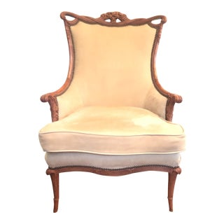 Antique French Carved Bergere Chair For Sale