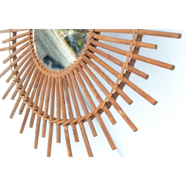Wicker Bohemian Chic French Handcrafted Round Ficks Reed & Woven Wicker Wall Mirror For Sale - Image 7 of 13