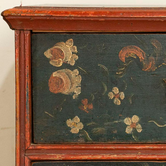Antique Hand Painted Chest of Drawers With Flowers For Sale - Image 4 of 8