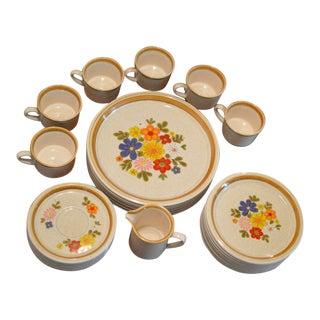 "1970s Vintage Mikasa ""Floribunda"" Stoneware Dish Set - Set of 29 For Sale"