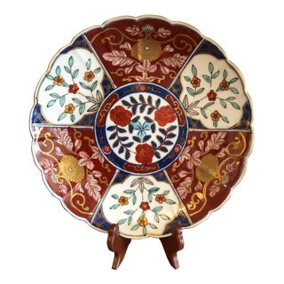 Red and Navy Imari Plate For Sale