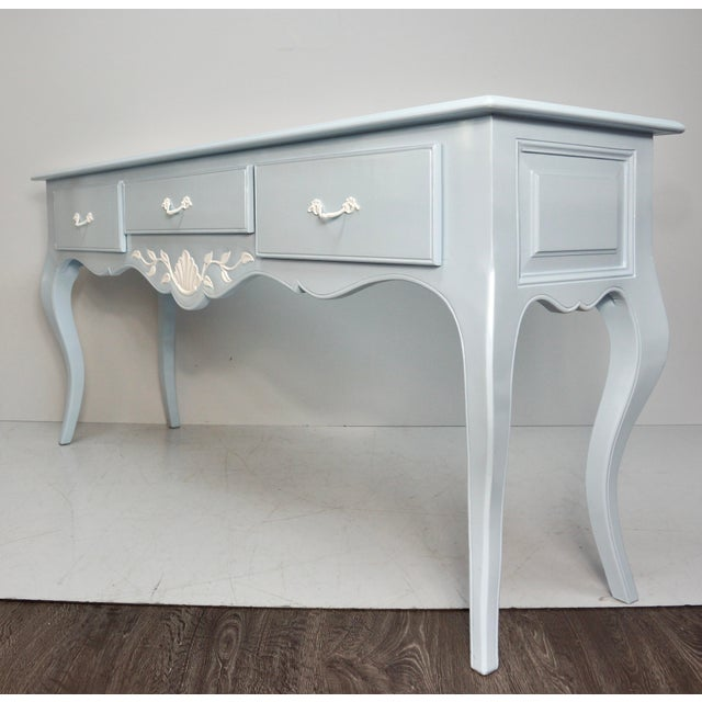 Mid 20th Century Mid 20th Century French Carved Blue & White Lacquered Console Table For Sale - Image 5 of 9