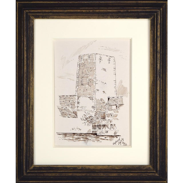 Antique English Drawing of St George's Tower, part of the remaining structure of a 13th Century Castle in Oxford, England....