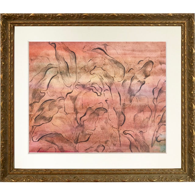 Vintage, Mid-Century Modern, watercolor with pencil abstract foliate design in peach tones. Unsigned, but from a portfolio...