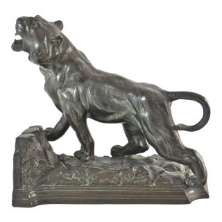 1920s Art Nouveau Roaring Tiger Figurine For Sale