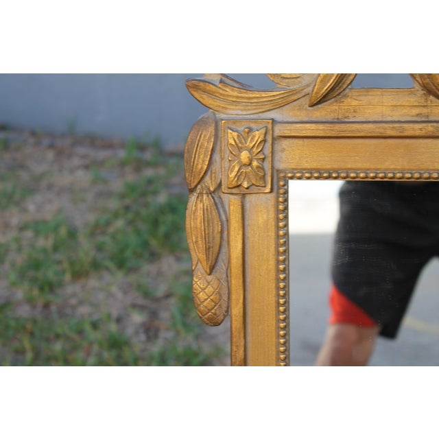 1940's Neoclassical Style Carved Walnut Wall Mirror For Sale - Image 4 of 13