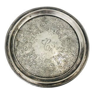 Antique Engraved Silver Platter For Sale
