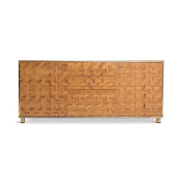 Hollywood Regency Sideboard in Rattan and Bamboo, 1970s For Sale - Image 4 of 9